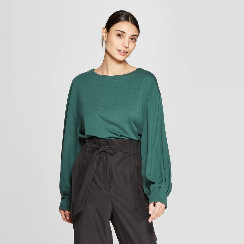 50747b8c2058 Womens Long Sleeve Crewneck Knit T Shirt Prologue Green XL