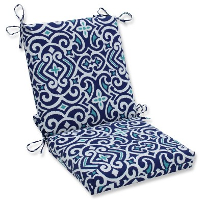 Outdoor/Indoor New Damask Marine Squared Corners Chair Cushion - Pillow Perfect