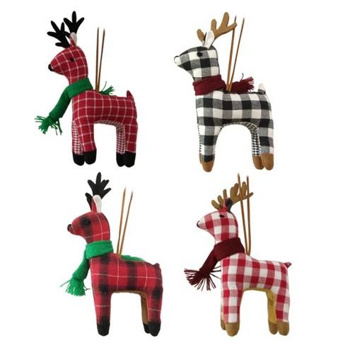 4ct Plaid Deer Christmas Ornament Set - Wondershop™ - image 1 of 5