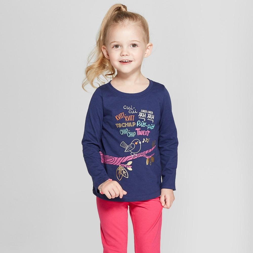 Toddler Girls' Long Sleeve Bird T-Shirt - Cat & Jack Nightfall Blue 2T