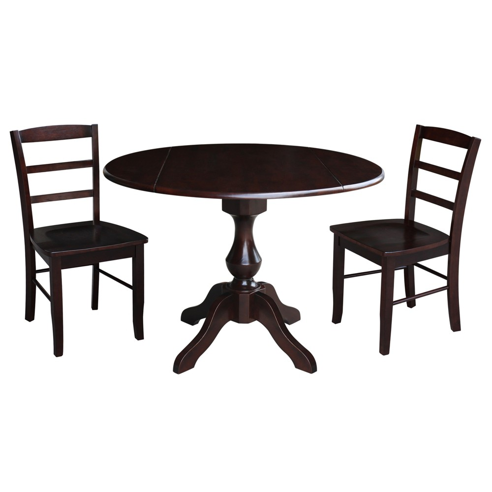 """Image of """"30.3"""""""" Randolph Round Top Pedestal Table with 2 Chairs Mocha Brown - International Concepts"""""""