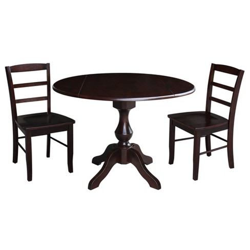 "30.3"" Randolph Round Top Pedestal Table with 2 Chairs Mocha Brown - International Concepts - image 1 of 3"