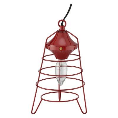 """9.5"""" Metal Camp Lantern Table Lamp Red - Ore International"""