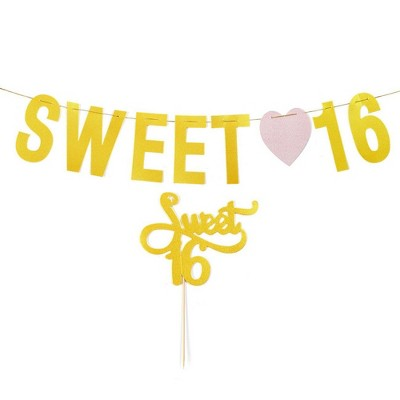 "Blue Panda 2-Piece Gold Glitter ""Sweet 16"" Birthday Party Banner & Cake Topper Birthday Party Decorations"