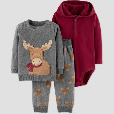Baby Boys' 3pc Deer Set - Just One You® made by carter's Gray Newborn
