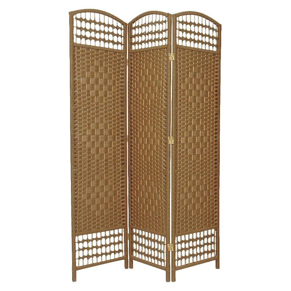 5 1 2 Ft Tall Fiber Weave Room Divider Natural 3 Panels