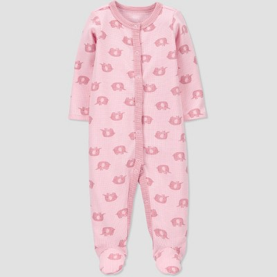 Baby Girls' Elephant Thermal Sleep N' Play - Just One You® made by carter's Pink 3M