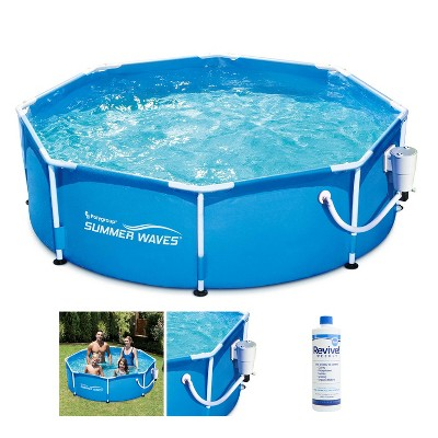 Summer Waves P2000830A Active 8ft x 30in Outdoor Round Frame Above Ground Swimming Pool Set with Filter Pump, Cartridge & Treatment Cleaner