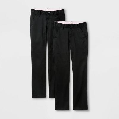 Girls' 2pk Flat Front Stretch Uniform Straight Pants - Cat & Jack™ Black