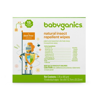Babyganics Natural Insect Repellent Wipes - 15ct