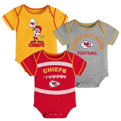 NFL Kansas City Chiefs Baby Boys' Newest Fan 3pk Bodysuit Set - 0-3M