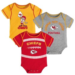 NFL Kansas City Chiefs Baby Boys' Newest Fan 3pk Bodysuit Set