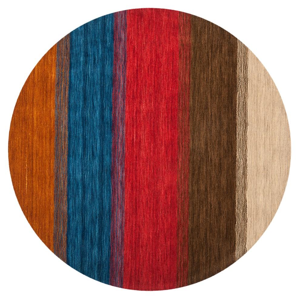 Orange Color Block Loomed Round Area Rug 6' - Safavieh