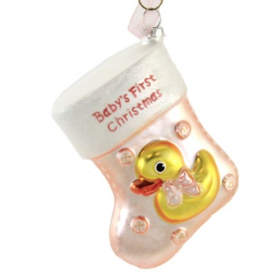 """Holiday Ornament 4.0"""" Baby's First Christmas Stocking Stitching Glittered  -  Tree Ornaments"""