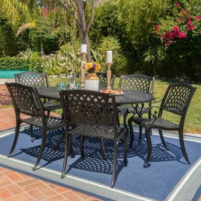 Carysfort 7pc Aluminum Dining Set  - Black Sand - Christopher Knight Home