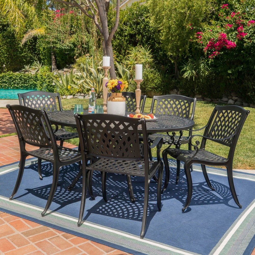Carysfort 7pc Aluminum Dining Set - Black Sand - Christopher Knight Home