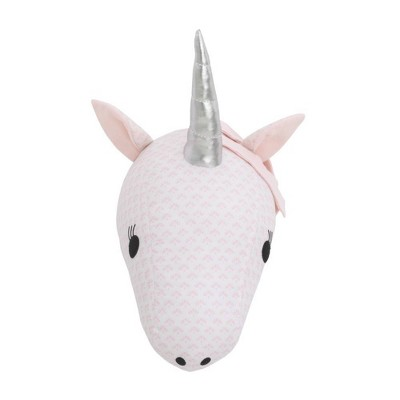 NoJo Unicorn Plush Head Wall Décor - Pink and White