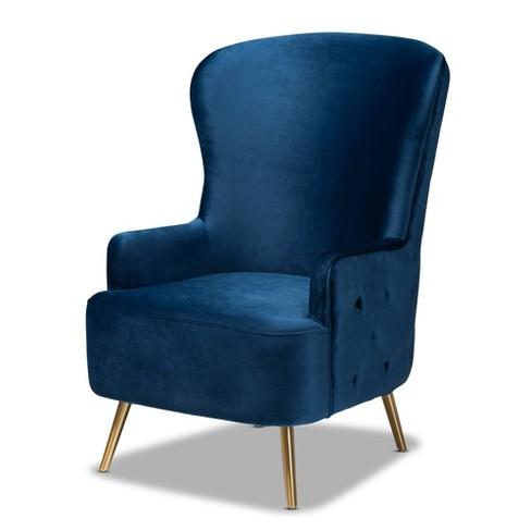 Melissa Velvet Fabric Upholstered, Blue Accent Chairs For Living Room