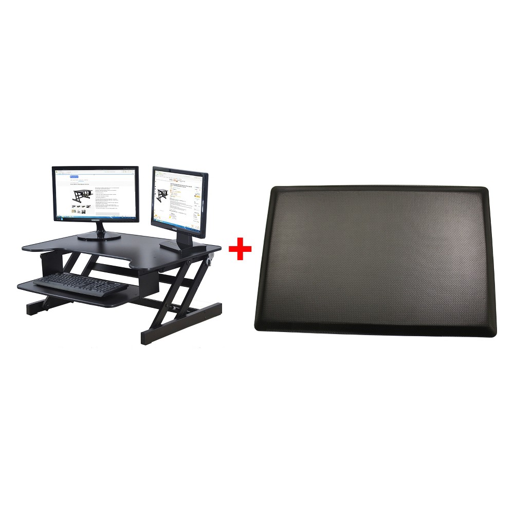 Basic Height Adjustable Computer Riser and with Mat Black - Rocelco