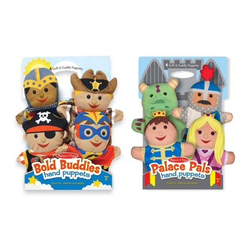 Melissa & Doug Adventure Hand Puppets (Set of 2, 4 puppets in each) - Bold Buddies and Palace Pals - image 1 of 4