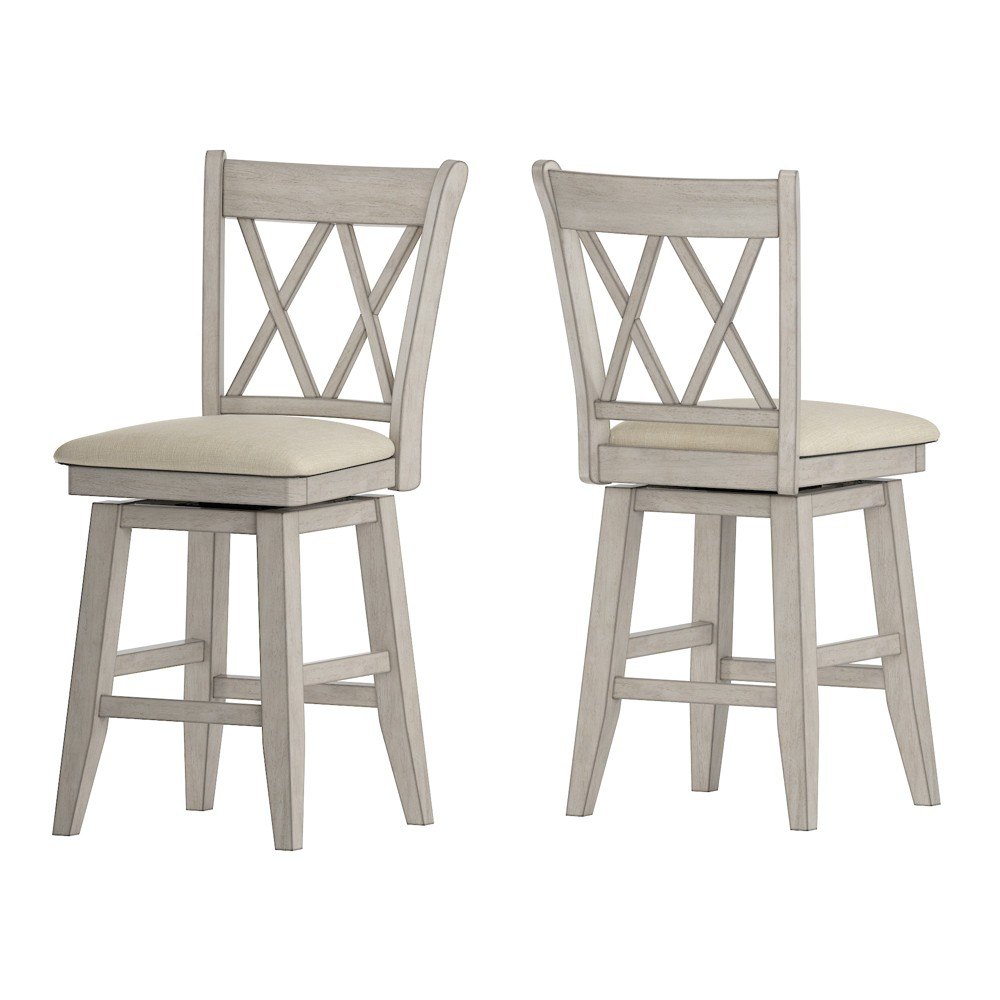 """Image of """"24"""""""" South Hill Double X Back Swivel Counter Height Chair White - Inspire Q"""""""