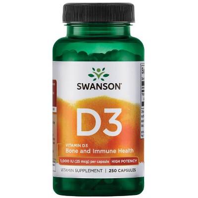 Swanson High Potency Vitamin D3 Capsules, 1,000 IU, 250 Count