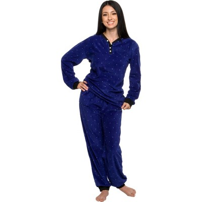 Silver Lilly - Women's 2-Piece Fleece Polka Dot Pajama Set