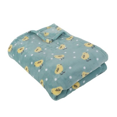 """50""""x70"""" Flannel Fleece Folded Penny Chicks Throw Blanket Blue - Décor Therapy"""