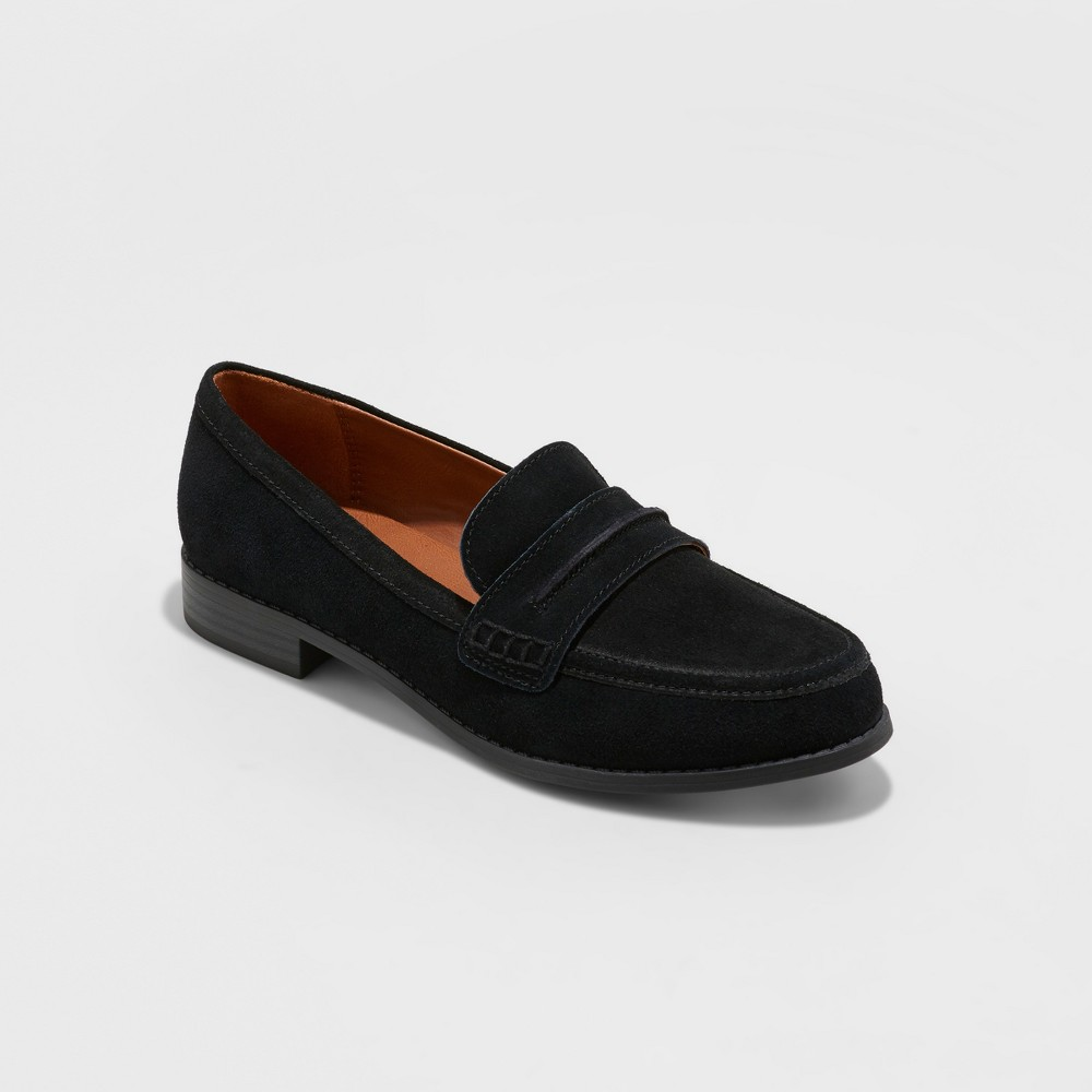 Women's Anamae Wide Width Suede Closed Back Loafers - Universal Thread Black 7.5W, Size: 7.5 Wide