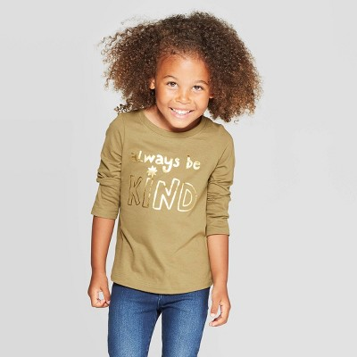 Toddler Girls' Long Sleeve 'Kind' Graphic T-Shirt - Cat & Jack™ Green 3T