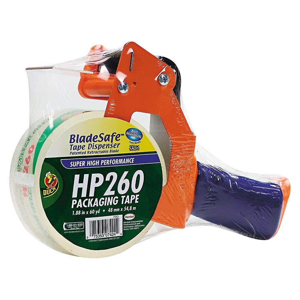 Duck Bladesafe Bladesafe Antimicrobial Tape Gun w/Tape, 3 Core, Metal/Plastic, Orange, Orange/Purple