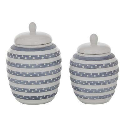 Set of 2 Round Striped Ceramic Jar with Lid White/Gray - Olivia & May