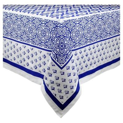 84 x60  Tunisia Print Tablecloth Blue - Design Imports