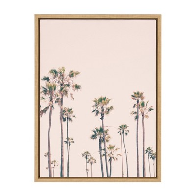 """18"""" x 24"""" Sylvie Palm Tree Paradise Framed Canvas Wall Art by Caroline Pink/Mint - Kate and Laurel"""