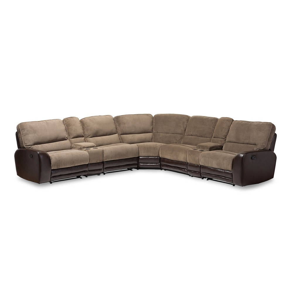 Image of Richmond Modern and Contemporary Fabric and Faux Leather Two - Tone Sectional Sofa - Taupe, Brown - Baxton Studio