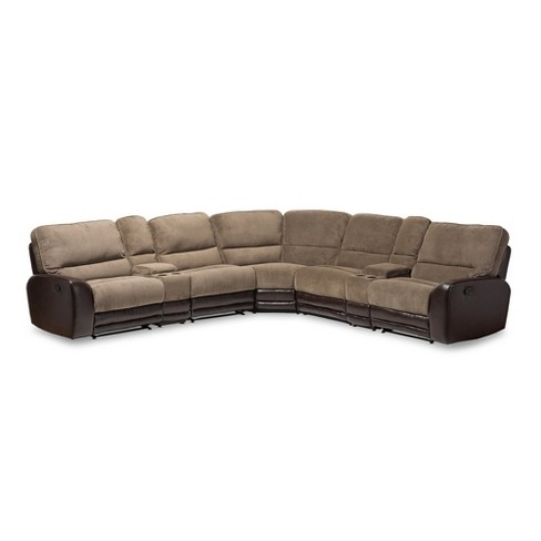 Richmond Modern And Contemporary Fabric And Faux Leather Two Tone