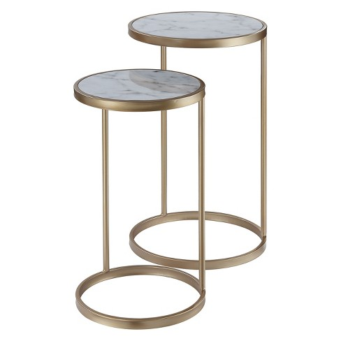 Gold Coast Faux Marble Nesting End Tables Faux Marble/Gold - Johar - image 1 of 5