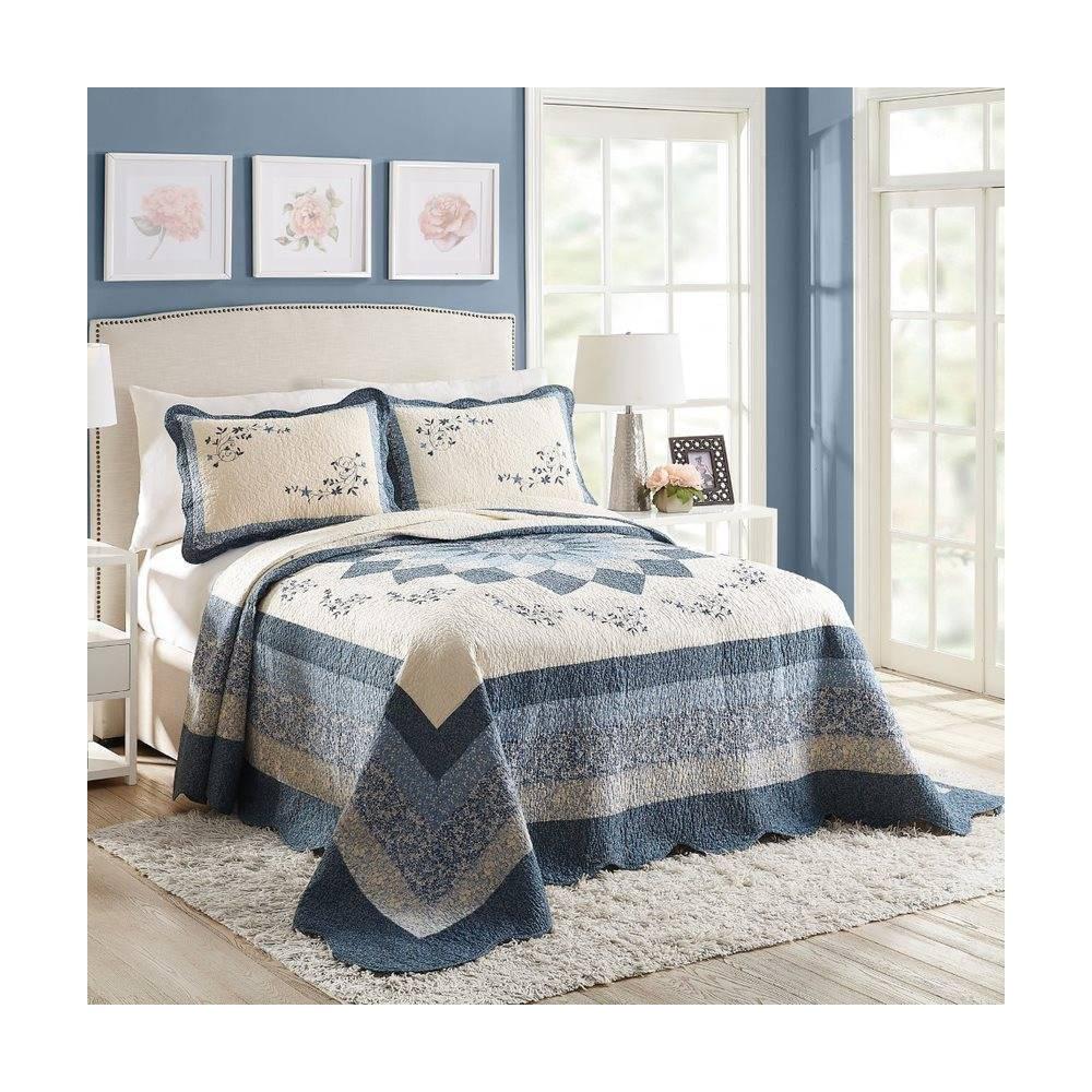 Modern Heirloom Charlotte Bedspread Blue