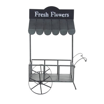 Small Metal Rectangular Rolling Garden Cart Plant Stand with Canopy and Fresh Flowers Black - Olivia & May