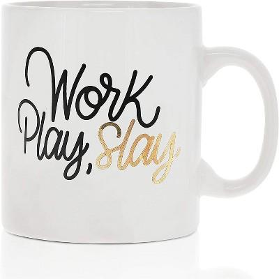 Okuna Outpost White Large Ceramic Coffee Mug Tea Cup, Work Play Slay (16 oz, 3.7 x 4.1 In)