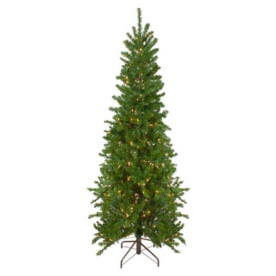 Northlight 7.5' Prelit Artificial Christmas Tree Canadian Pine Pencil - Clear Lights