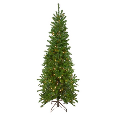 Northlight 7.5' Prelit Artificial Christmas Tree Canadian Pine Pencil - Clear Lights - image 1 of 4