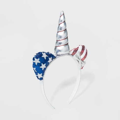 Girls' Cat Ear & Unicorn Sequin HeadBand - Cat & Jack™ Sliver/Blue - image 1 of 1