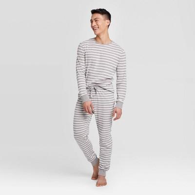 Men's Striped 100% Cotton Matching Pajama Set - Gray
