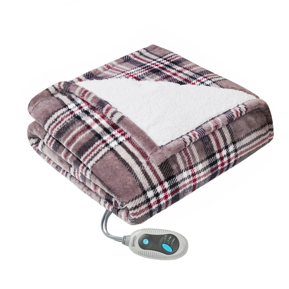 "Image of ""50"""" x 64"""" Plaid Sherpa Electric Throw Wrap Gray"""