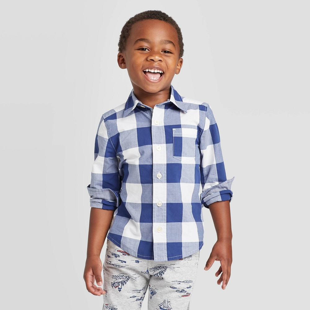 Image of OshKosh B'gosh Toddler Boys' Long Sleeve Lobster Woven Button-Down Shirt - Dark Blue/White 18 M, Toddler Boy's, Size: 18M