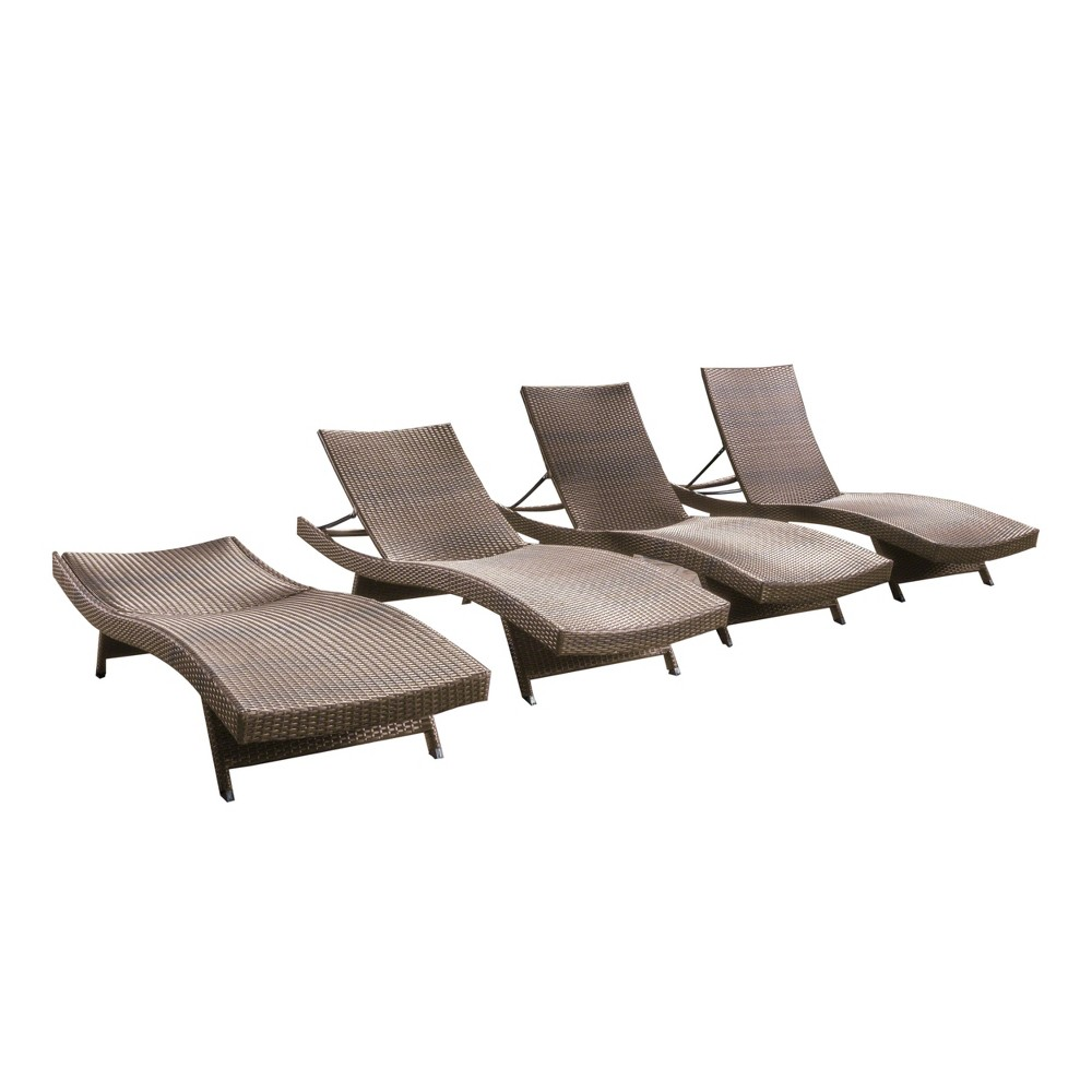 Salem 4pk Wicker Adjustable Chaise Lounge - Mocha (Brown) - Christopher Knight Home
