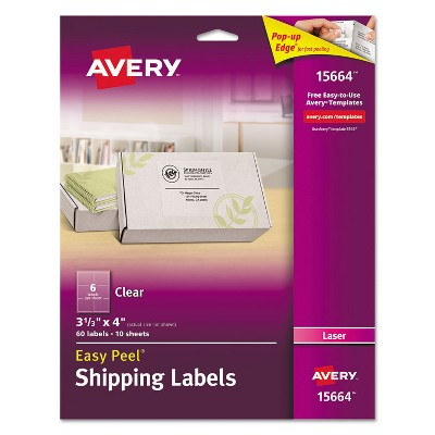 Avery Clear Easy Peel Mailing Labels Laser 3 1/3 x 4 60/Pack 15664