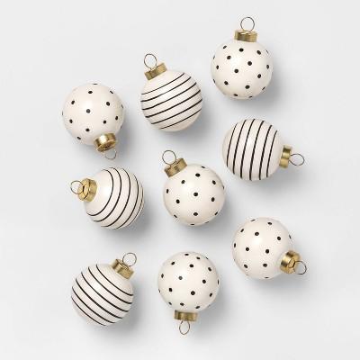 cream-&-black-mini-40mm-glass-ornaments-9ct---sugar-paper by sugar-paper