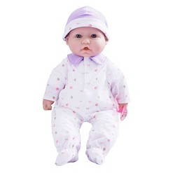 "JC Toys La Baby 16"" Baby Doll - Purple Outfit with Pacifier"
